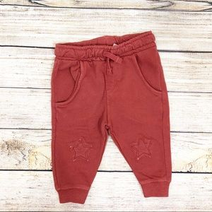 62e82667 Zara Baby Boy 3-6M Brick Star Patch Sweatpants NWT